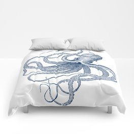 Blue nautical vintage octopus illustration Comforters
