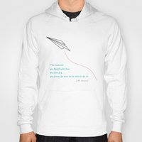 airplanes Hoodies featuring Paper Airplanes - You Can Fly - Deep Teal by ASHER + Olive