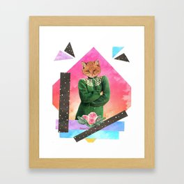 Roses are pink handcut collage Framed Art Print