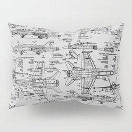 F-18 Blueprints // Light Grey Pillow Sham