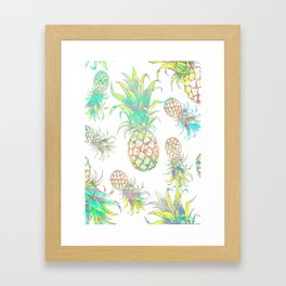 Colored pencil pineapple pattern tropical fruit design Framed Art Print