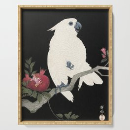 Cockatoo and Pomegranate Japanese Woodcut Serving Tray