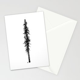 Love in the forest - a couple and their dog under a solitary, towering Douglas Fir tree Stationery Cards