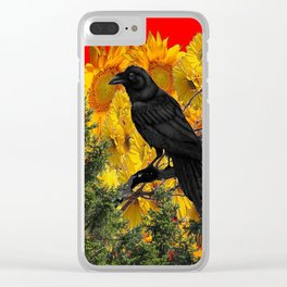 CROW & SUNFLOWERS WILDERNESS RED ART Clear iPhone Case