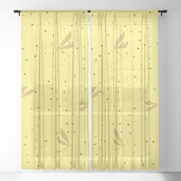 Yellow Dragonfly Christmas seamless pattern and Gold Confetti on Purple Background Sheer Curtain