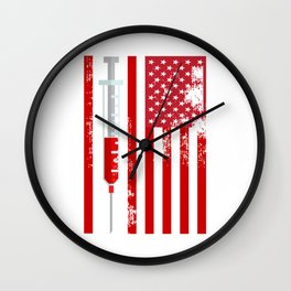 Nurse Doctor RN American Flag USA Wall Clock