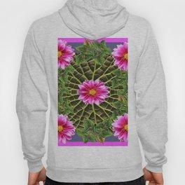 Abstracted Fuchsia Pink Dahlias Stylized Garden Pattern Hoody