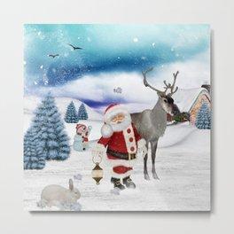 Christmas, Santa Claus with reindeer Metal Print