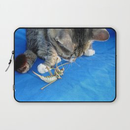 Young Male Tabby Cat Playing With It's Prey Laptop Sleeve