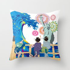 Hokusai People Seeing Big Wave,  Statue of Liberty & Fireworks Throw Pillow