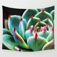 succulent Wall Tapestries featuring Succulent by World Photos by Paola