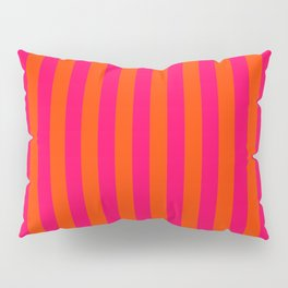 Orange Pop and Hot Neon Pink Vertical Stripes Pillow Sham