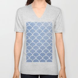 Beautiful textured large scallops in serenity blue Unisex V-Neck