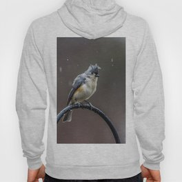 Tufted Titmouse shaking off the rain Hoody