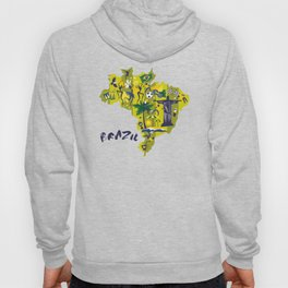 Brazil Map Christ Brazilian Culture Soccer Mural Hoody