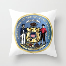 Wisconsin State Seal Throw Pillow