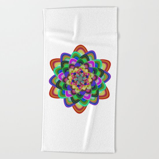 Hexagonal flower Beach Towel