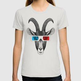 Goat wears 3D glasses T-shirt