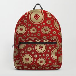 Lucky Gold Chinese coins pattern on red Backpack