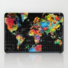 World Map Black - 1 iPad Case