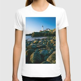 Portland Lighthouse Sunrise View From Rocks T-shirt