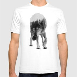 Wolf In The Woods (black & white version) T-shirt