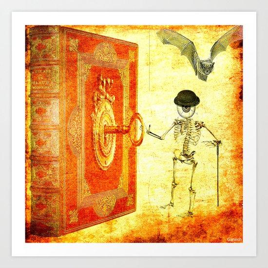 Monsieur Bone and the magic book Art Print