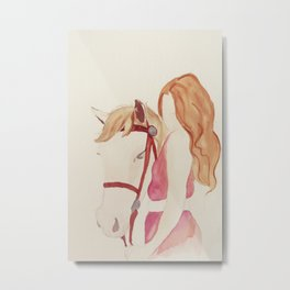 A Girl and Her Horse  Metal Print
