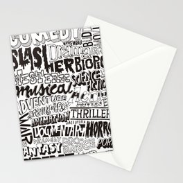 Movies Genres BW Stationery Cards