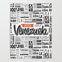 Venezuela Lettering Design - Black and white Poster