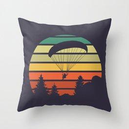 Paragliding Sunset Throw Pillow