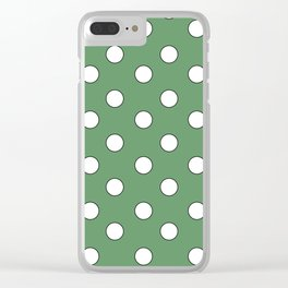 Green Pastel Polka Dots Clear iPhone Case