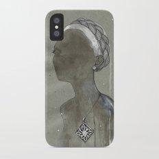 girl with silver diamond oltu stone necklace Slim Case iPhone X