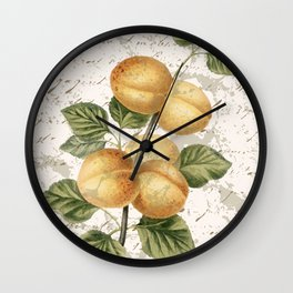Vintage Botanical Peach with Distressed Script Digital Collage Wall Clock