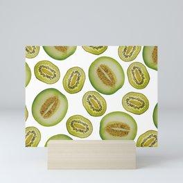 Kiwi - Honey Melon pattern white Mini Art Print