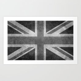 Union Jack Vintage 3:5 Version in grayscale Art Print
