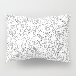 Monstera Black and White Line Art Pattern Pillow Sham