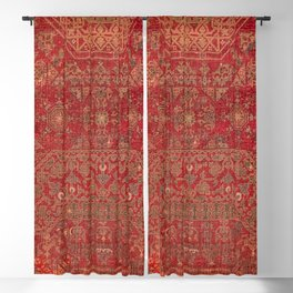 Bohemian Medallion II // 15th Century Old Distressed Red Green Colorful Ornate Accent Rug Pattern Blackout Curtain