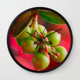 Green Berries Red Background #decor #society6 #buyart Wall Clock