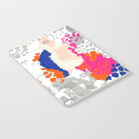 Mica - Abstract painting in modern fresh colors navy, orange, pink, cream, white, and gold Notebook