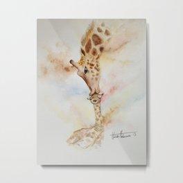 Giraffe and mummy watercolour Metal Print