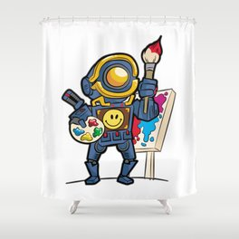 ROBOT COLORING Artist Brush Easel Pathfinder Gift Shower Curtain