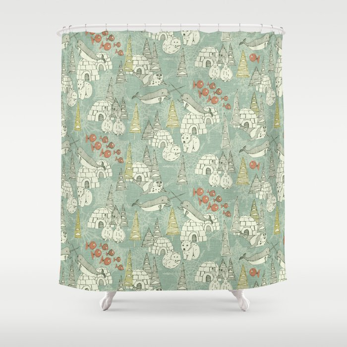 Arctic Retro Shower Curtain By Sharonturner