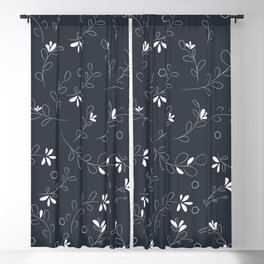 White Flowers on Gray Blackout Curtain
