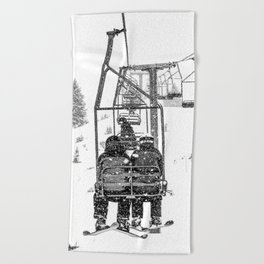 Snow Lift // Ski Chair Lift Colorado Mountains Black and White Snowboarding Vibes Photography Beach Towel