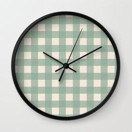 Buffalo Checks Plaid in Sage Green on Cream Wall Clock