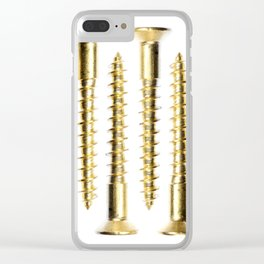 Isolated Golden Screws Texture Clear iPhone Case