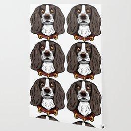 English Springer Dog Funny Cartoon Present Wallpaper