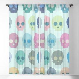 Colorful Skull Cute Pattern Sheer Curtain