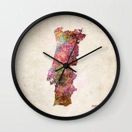 Portugal map Wall Clock